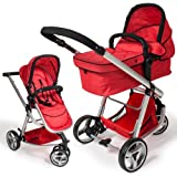 TecTake 3 in 1 Pushchair stroller combi stroller buggy baby jogger travel buggy kid's stroller red