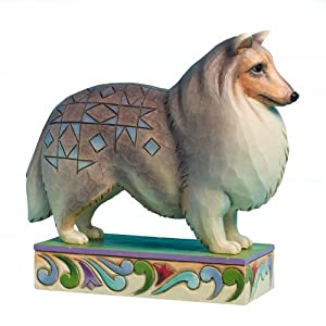 Enesco Jim Shore Heartwood Creek Shetland Sheep Dog Figurine, 5.75-Inch