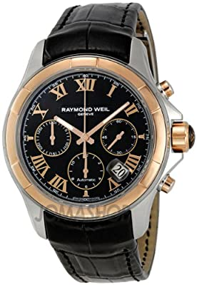 Raymond Weil Men's 7260-SC5-00208 Parsifal Stainless Steel Watch With Black Faux-Leather Band