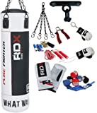 Authentic RDX 9 piece Heavy Duty Filled Rex Leather Boxing MMA Kickboxing Muay Thai UFC Punch Bag 4FT/5FT