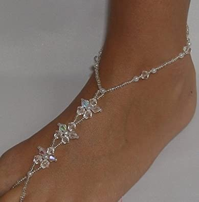 Wedding Foot Jewelry Barefoot Sandals Crystal Flower