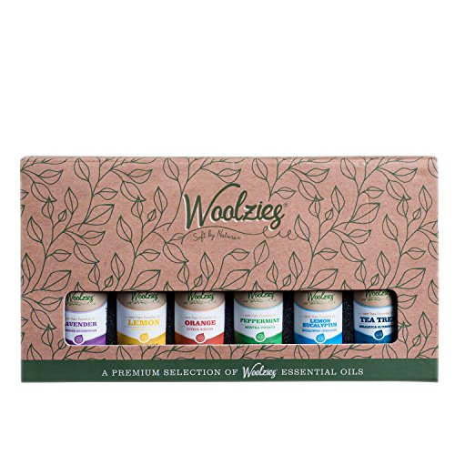 Woolzies Gift Set of 6 Popular Essential Oils, Lavender, Sweet Orange, Lemon, Eucalyptus Citradora, Peppermint & Tea Tree