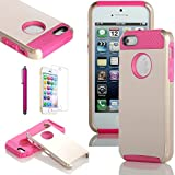 ATC Lumsing Hard&Soft Impact Hybrid Combo Armor Resistance Case Rubberized Silicone Cover For Apple iPhone 5 5G Gold+Rose With Screen Protector