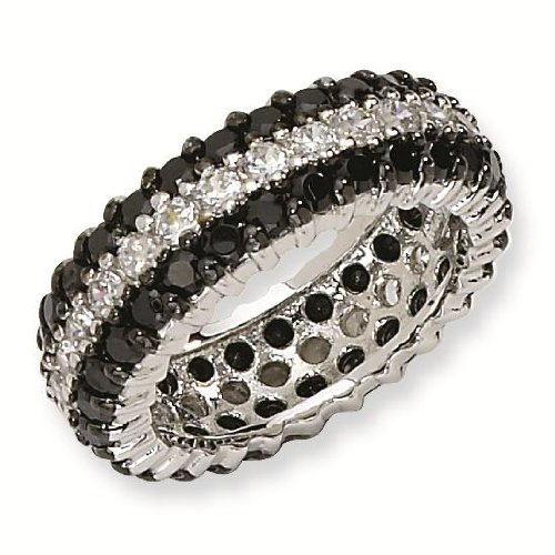 Sterling Silver Black/White CZ Eternity Ring - Size 8