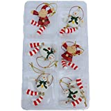 Set of 6 Mini Christmas Tree Decorations - Santa and Snowmen Design