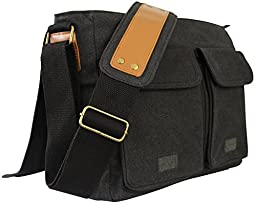 SKORCH Small Size Canvas Messenger Bags for Men and Women, with Comfortable Shoulder Strap (Black). Commuting, College and Multipurpose Use. Size: 14 x 11 x 4 Inches