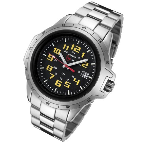 Armourlite ColorBurst Shatterproof Scratch proof Glass Yellow Tritium Watch 10 yr battery w/ Stainless Steel Band AL214