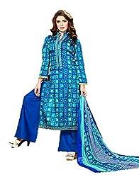 Orange Women's Unstitched Dress Material (SKUAMZ02_Blue_Freesize)