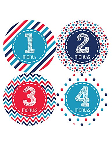 Months in Motion 389 Monthly Baby Stickers Baby Boy Months 1-12 Milestone