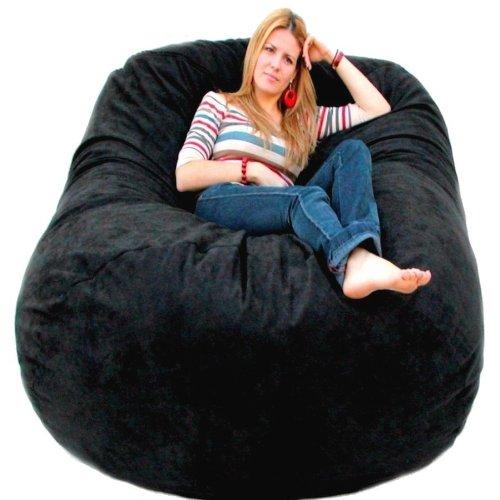 6 Feet X Large Black Cozy Sac Foof Bean Bag Chair Love Seat