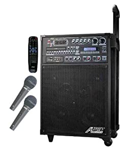 Audio 2000 AKJ7808 Singer's Power 180W Recordable All-In-One Karaoke / PA System with 20 Discs