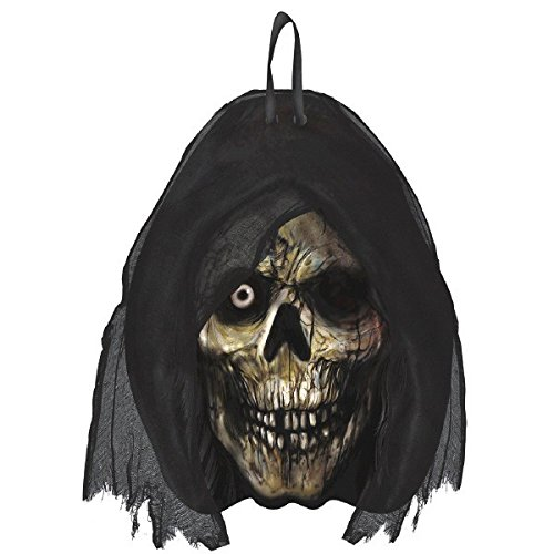 """Amscan Creepy Cemetery Halloween Party Grim Reaper Head Hanging Sign Decoration, Black, 11 1/2"""" x 9"""""""