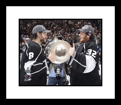 Drew Doughty & Jonathan Quick Los Angeles Kings NHL Framed 8x10 Photograph Holding Stanley Cup - Framed NHL Photos, Plaques and Collages