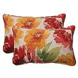 Pillow Perfect Indoor/Outdoor Primro Corded Rectangular Throw Pillow, Orange, Set of 2