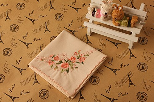 La Closure Vintage Floral Cotton Embroidered Ladies Handkerchiefs Pack 4