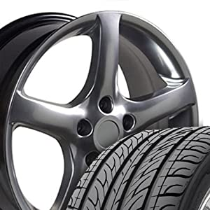 Altima '05 Style Wheels and Tires Fits Nissan - Hyper Black 17x7 Set of 4
