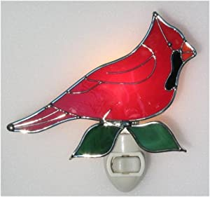Stained Glass Red Cardinal Bird Night Light with Light Sensor Base