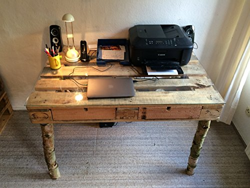 Schreibtisch Aus Einer Palette – Birkenfüße – Glasplatte