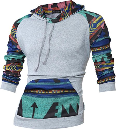 jeansian Uomo Retro Ethnic Stile Con Cappuccio Pullover Casuale Felpe Maglione Sport Hoodie 88G9 LightGray L