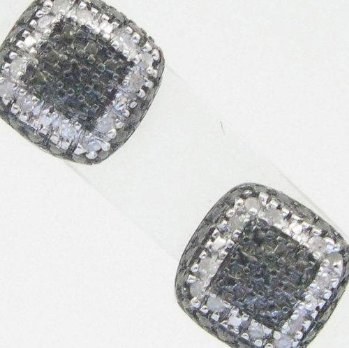 Mens 925 Sterling Silver earrings fancy stud hoops huggie ball fashion dangle black outer layer pave earrings