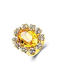 Swarovski Elements Dazzling Precious Looks Golden Ring For Women By YELLOW CHIMES