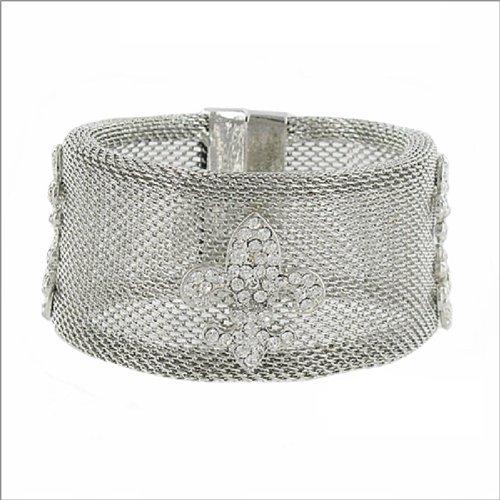 Mesh Design W Fleur De Lis Accent Bracelet #039387