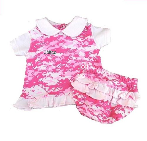 2 Pc Pretty Pink Digital Camo Dress With Ruffled Panties Baby Infant (3-6 Months) front-771466