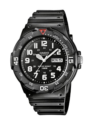 Casio Men's Quartz Watch with Black Dial Analogue Display and Black Resin Strap MRW-200H-1BVEF