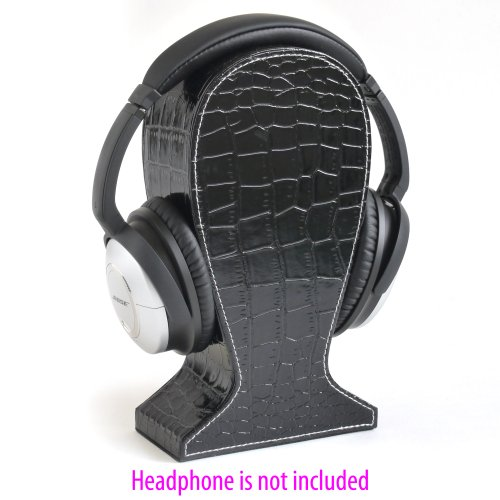 Headphone Stand / Display With Croc Texture Faux Leather And White Stitching