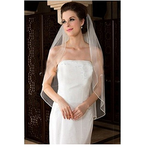 Ondine8 Women's 1 Tier with Free Comb White Wedding Veil(White)
