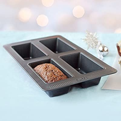 Sweet Creations 04726 4-Cup Nonstick Mini Loaf Pan, Gray