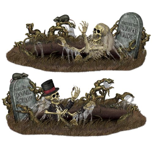 "Beistle 00907 Printed Doomed Groom and Buried Bride Props, 33.5"" x 5' 3"", 2 Pieces In Package"