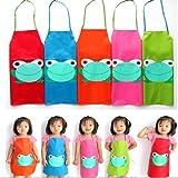 Tablier Cuisine Enfant Peinture Maternelle Dessin Grenouille Blouse bleu
