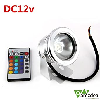 amzdeal ip65 10w 12v dc rgb led tanche projecteur. Black Bedroom Furniture Sets. Home Design Ideas