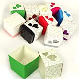 10x Heart Cut-Out Favour Boxes Cerise Pink