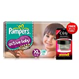 Pampers Active Baby Extra Large Size Diapers (56 count) - With Free Olay Regenerist Trial Pack