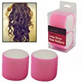 AMOS 2 Piece Velcro Large 60mm Sleep Snooze Foam Curling Salon Hair Styling Tools Self Grip Cling Hair Rollers Curlers Set Kit (Pink)