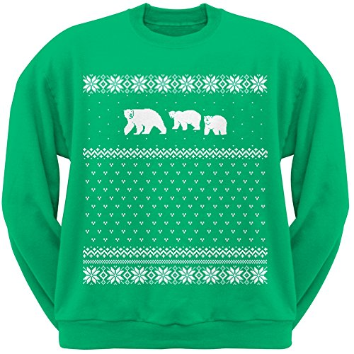 Polar Bears Ugly Christmas Sweater Green Adult Crew Neck Sweatshirt - 2X-Large