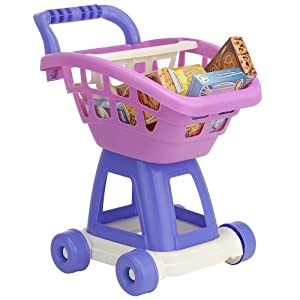 Just Like Home Deluxe Shopping Cart - Pink - TOY PINK SHOPPING CART