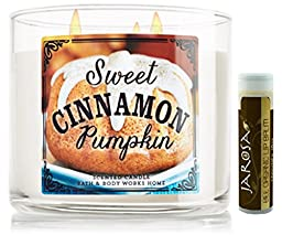 Bath & Body Works Sweet Cinnamon Pumpkin Candle 3 Wick Scented 14.5 Oz./411 G with a Jarosa Beauty Bee Organic Natural Chocolate Bliss Lip Balm