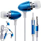 CellBig Spicy Blue In Ear Audio Headphones Earphone Headset Hands Free Included Mic In-Line Remote Lightweight For Your Apple iPod 1 2 3 4 5 / Classic / Shuffle / Nano 6 7 / Touch / 1st 2nd 3rd 4th 5th Generation