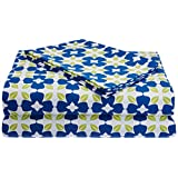 Blue Alcove Floral Print Cotton Bedsheet With 2 Pillow Covers - King Size, Blue And Green (SGBD-4-1-1)