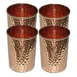 Set Of 4, Copper Glass For Ayurvedic Health Benefits Drinkware Hammered Tumbler