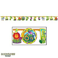 """Jungle Animals Jumbo """"Happy Birthday"""" Add-An-Age Letter Banner Kit by Amscan"""
