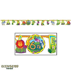 "Jungle Animals Jumbo ""Happy Birthday"" Add-An-Age Letter Banner Kit by Amscan"