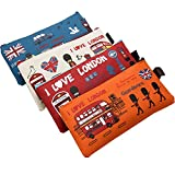 lotusflowert Canvas Pencil Case,The American Style I LOVE LONDON Set of 4