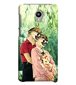 Blue Throat Dog Face Boy Girl With Cat Printed Designer Back Cover/Case For Meizu M2