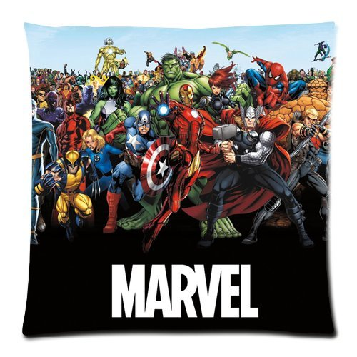 Generic Custom Captain America Marvel Cool Design Printed Zippered Pillowcase Cushion Case 18*18(Twin Sides) front-1004428
