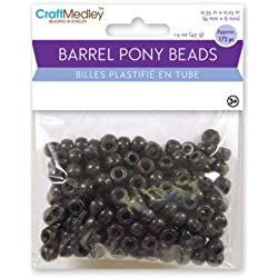 Barrel Pony Beads 9mmx6mm 175/Pkg-Black
