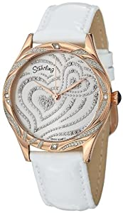 Stuhrling Original Amour Aphrodite Elegante women's quartz Watch with white Dial analogue Display and white leather Strap 582.2245P2